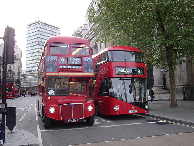 Old and New Routemasters together, with any luck marking their last appearance in this blog. Photo by Au Morandarte from London, Middlesex, England (Trafalgar Niners.) [CC BY-SA 2.0], via Wikimedia Commons