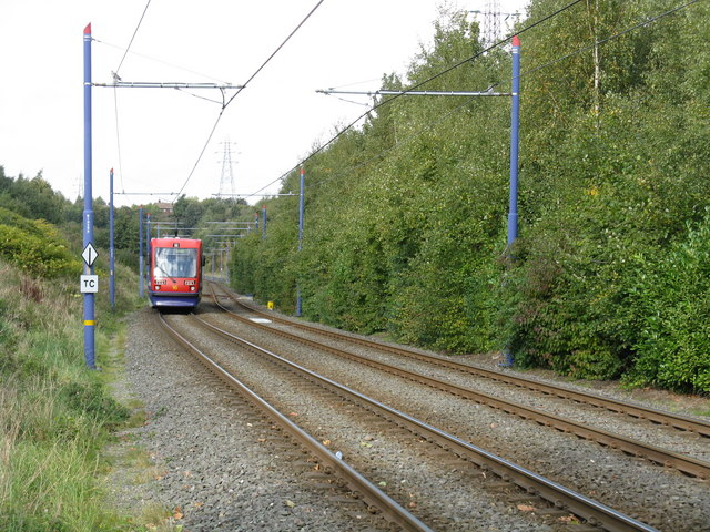 A Midland Metro tram near Black Lake. I think The line isn't exactly running through the kind of densely populated urban area that makes for a good light rail catchment area. Whatlep [CC BY-SA 2.0], via Wikimedia Commons