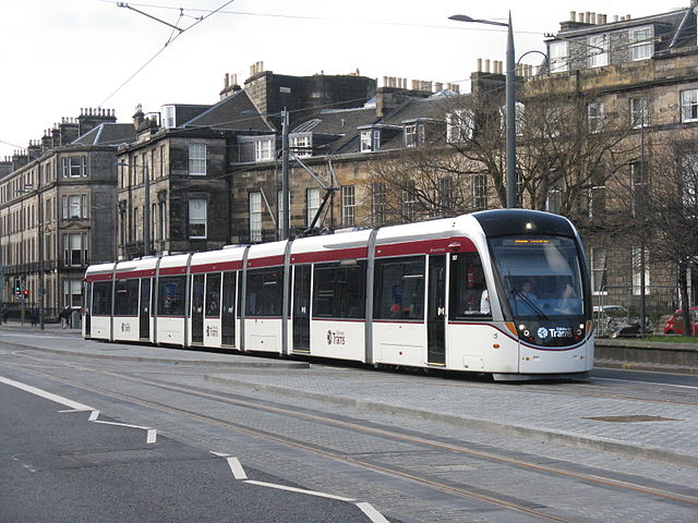 Edinburgh's (very long) trams finally arrived in 2012. Photo by M J Richardson [CC BY-SA 2.0 (http://creativecommons.org/licenses/by-sa/2.0)], via Wikimedia Commons