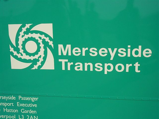 Merseyside PTE logo on a preserved Merseyside PTE bus. Photo by Pimlico Badger (Merseyside 1054 FKF933G) [CC BY-SA 2.0], via Wikimedia Commons