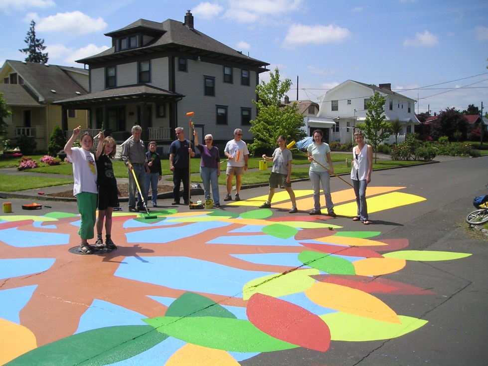 """Fredas Tree"" street painting project at the intersection of NE 56th and Stanton in Portland, 2009. Photo by City Repair Project [CC BY-2.0] via this flickr page"