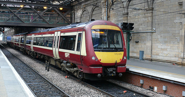 A SPT Class 170 in its carmine and cream colour scheme. Photo by Ad Meskens (Own work) [Attribution, CC BY-SA 3.0 or GFDL], via Wikimedia Commons